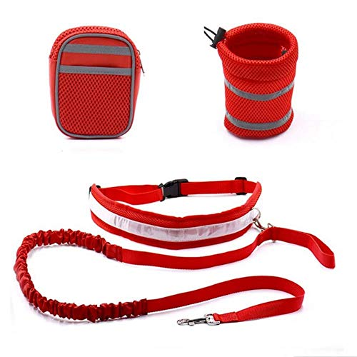 Ydzm - Correa para correr con 2 bolsas pequeñas para perro para correr, con cinturón reflectante y manos libres, Rojo, show in picture