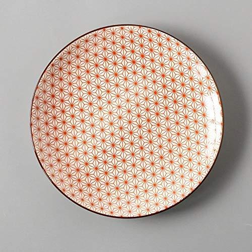 Plato de 8 Pulgadas Plato de vajilla de Porcelana conciso Vajilla de vajilla Conciso Discos de Disco de Filete pequeño para el hogar, Star SDisk