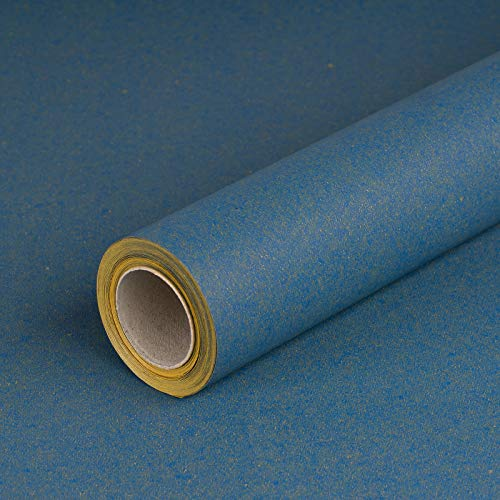 Geschenkpapier BLAU, Recyclingpapier, glatt, 80 g/m², blaues Geburtstagspapier, Weihnachtspapier - 1 Rolle 0,7 x 10 m