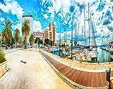 Splendid Spring Cityscape DIY Rompecabezas, puerto deportivo y yates Barcos en la ciudad Cagliari 4000 piezas Rompecabezas de madera Los mejores juegos familiares de descompresión para adultos 141x88