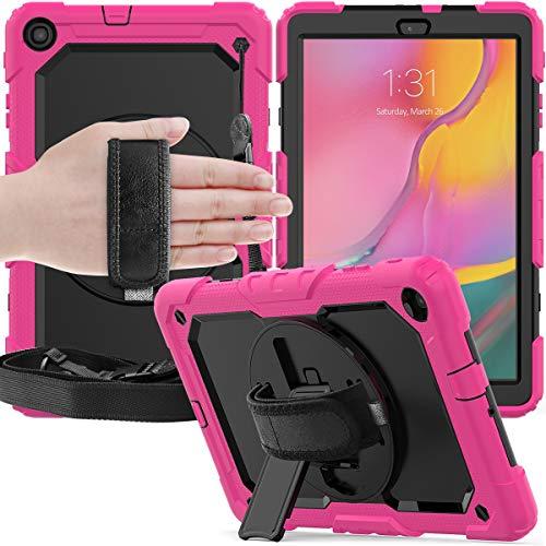 GUOQING Funda para tablet PC Samsung Galaxy Tab A 10.1/T510/T515 Tres capas a prueba de golpes, soporte giratorio de 360 grados, correa de mano y correa de hombro PC+funda protectora de silicona