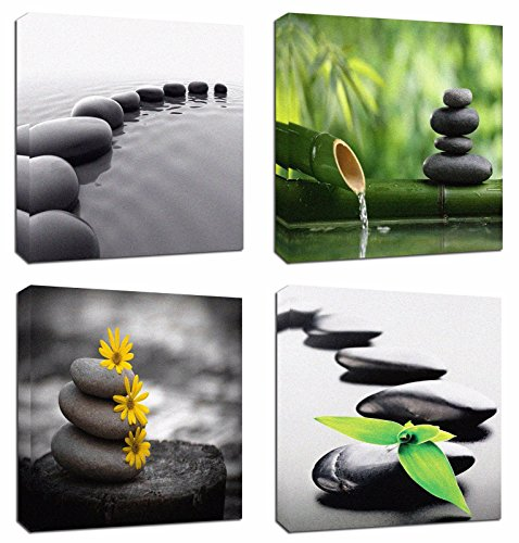 """4Pcs 12x12 Canvas Wood Stretched Zen Stone Garden Rocks Spa Bamboo Fountain Japan Yoga Theme Pink Frame Landscape Abstract Modern Art For Home Room Office Wall Print Decor 12x12"""" inch (30x30cm"""