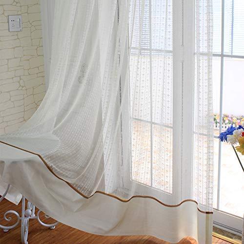 HM&DX Spitze Voile Vorhänge 1 Panel,hohl Floral Dekorative Voile Gardinen,lichtfilterung Fenster Vorhang Schatten Tüll Startseite A-Ösen 250x270cm(98x106in)