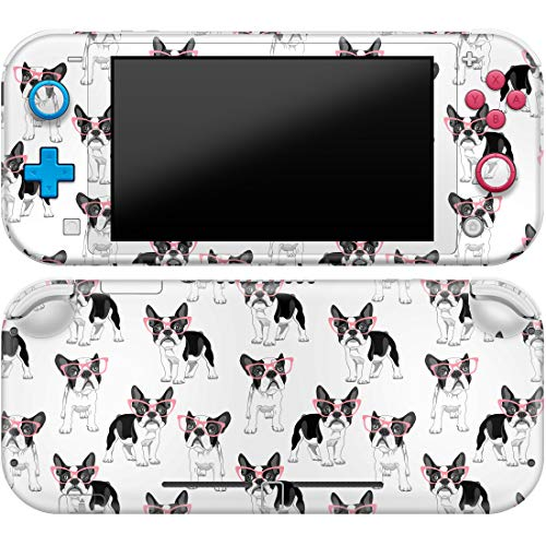 Cavka Vinyl Decal Skin Compatible with Console Switch Lite (2019) Stickers with Design Bulldog Pattern Full Set French Cover Cute Glasses Puppy Durable Faceplate Boston Terrier Print Protector Wrap