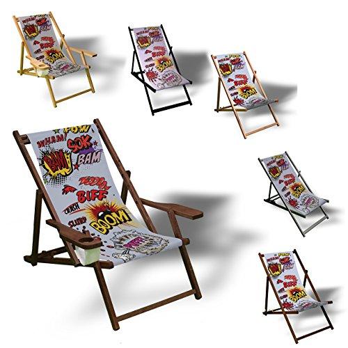 Printalio - Comic - Liegestuhl Bedruckt Balkon Garten Sonnenliege Relax Holz Terrasse | Kinderliegestuhl, Dunkelbraun