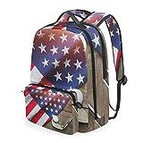 Cpyang, zaino da scuola con bandiera americana per palloni da golf, tracolla staccabile, borsa da viaggio per computer portatile, per ragazzi, donne e uomini