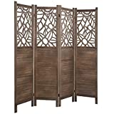 RHF 5.6ft.Tall Vintage Cutout Design Wood Crafted 4 Room Divider/4 Panels Screen Folding Privacy Partition Wall Room divider Wood Screen With Reed Freestanding 4 Panel 5.6-Feet, Cutout ,Brown