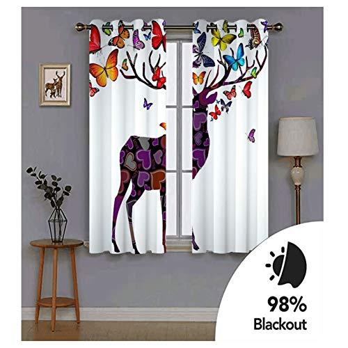 Knbob Polyester Vorhänge Lila Blau Rot Hirsch mit Schmetterlingen Herzen LOVE Küche Vorhang Fenster Größe 274x214CM