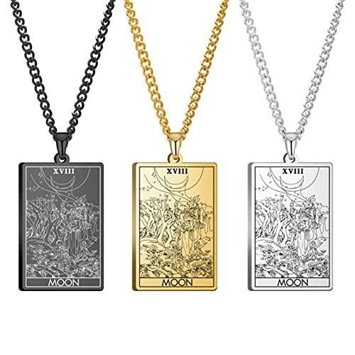 Collar de Cartas del Tarot Joyas de Acero Inoxidable Vintage Regalo de año Nuevo Los arcanos Mayores Collares Pendientes