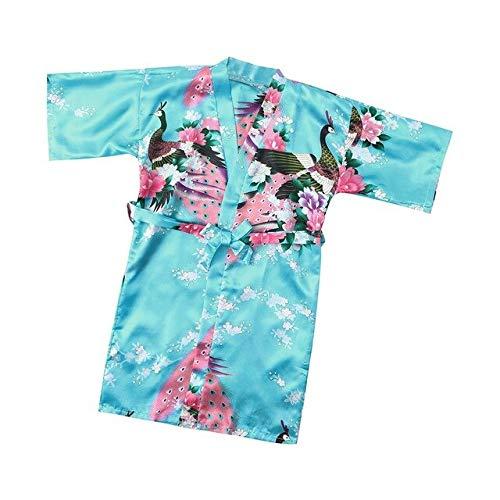 IAMZHL Bademantel Kinder Kleinkind Baby Kind Mädchen Blumen Seide Satin Kimono Roben Bademantel Nachtwäsche Bunte Kleidung Roupao Infantil-Sky Blue-3-3T