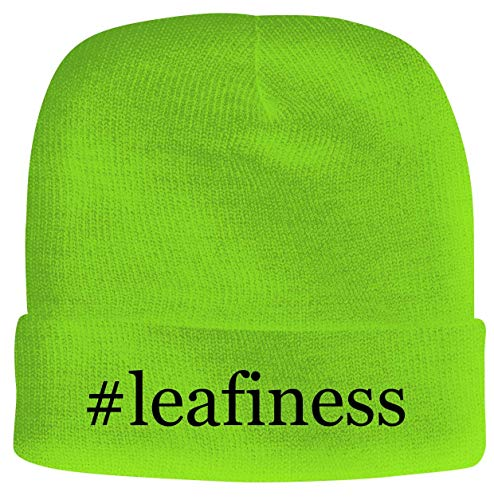 BH Cool Designs #Leafiness - Men's Hashtag Soft & Comfortable Beanie Hat Cap, Neon Green, One Size