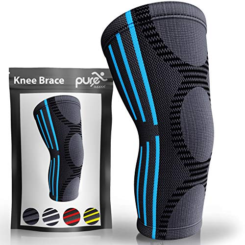 Pure Support Knee Brace Sleeve   Compression Patella Stabilizer for Meniscus Tear   Arthritis Pain   Running   Basketball   Crossfit   Sports   Gym   Women   Men