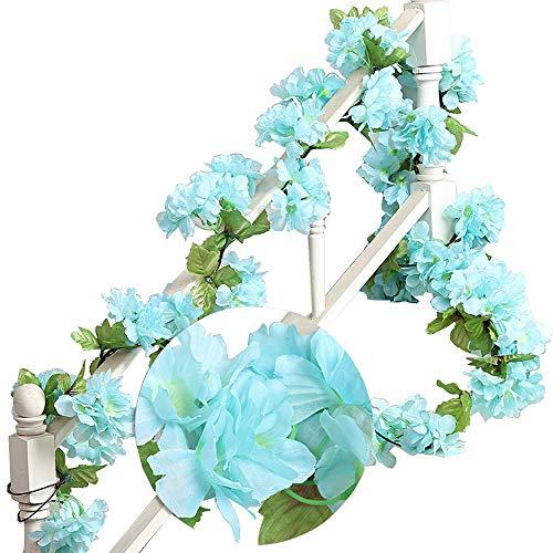 MZMing 2 x 235 cm Fiori di Ciliegio in Rattan Artificiale Ghirlanda Corona Fresh Lovely di Finto Fiore Pianta Fiore Foglia di Vite per Recinto Giardino Casa Festa di Natale Nozze Decorazione (Blu)