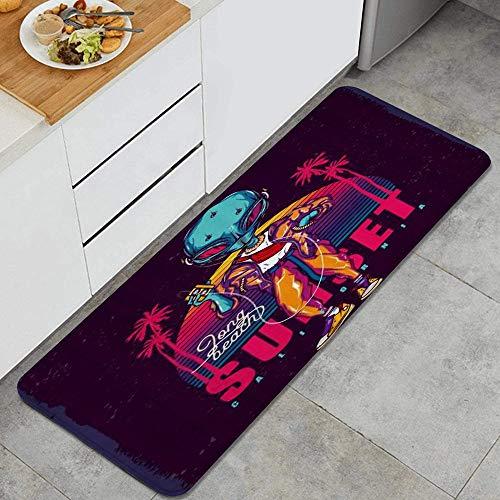 QIUTIANXIU Ilustración Alien Neon Sunset y Palmeras con un Reproductor de casetes Alfombrillas de Cocina Antideslizantes Felpudo Lavable Juego de Alfombras de Microfibra