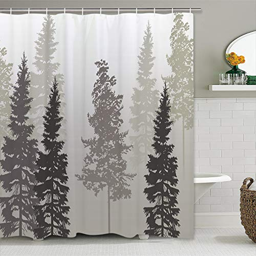 Likiyol Tree Stall Shower Curtain, Foggy Forest Shower...
