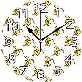 BeeTheOnly Reloj de Pared Plátano Artístico de Vintage Pelado Frutas punteadas Pastel Naranja pálido Dormitorio Sala de Estar Cocina Reloj para el hogar 9.5in