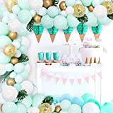 JOYMEMO Kit de Arco de Guirnalda de Globo Verde Menta, Globo de Confeti metálico para cumpleaños, Despedida de Soltera, Suministros para Bodas