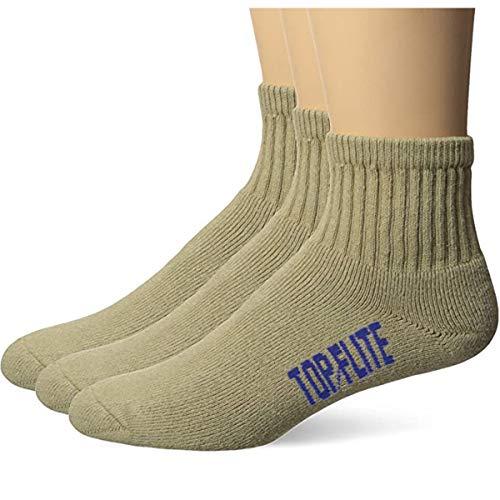 Top Flite Men's Sport Full Cushion Quarter Socks 3 Pair Pack, brown, Large (10-13) - Shoe Size 9-13