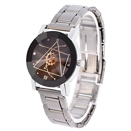 Reloj de pulsera para parejas,2 colores,2 tipos,analógico,redondo,de cuarzo,correa de aleación,amantes,reloj de pulsera para parejas,con cierre desplegable,regalos románticos(Esfera negra femenina)