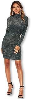 AX Paris Women's High Neck Ruched Sparkle Dress