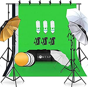 LOMTAP Photography Lighting Umbrella Kit 6.5ft9.8ft Background Support System Green Screen Continuous Backdrop for Photo Portrait Video Studio Shoot with Light Stand 5 in 1 Reflector 3 Bulbs 6 Clips