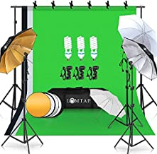 LOMTAP Photography Lighting Umbrella Kit 6.5ftx9.8ft Background Support System Green Screen Continuous Backdrop for Photo Portrait Video Studio Shoot with Light Stand 5 in 1 Reflector 3 Bulbs 6 Clips