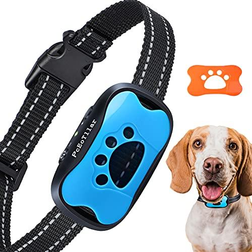 Collar Antiladridos de Perro Recargable para Pequeño Medianos Grandes Sonido Humano Ajustable y Modo de Vibración para Entrenar Perros Ajuste de Sensibilidad de 7 Niveles - Azul