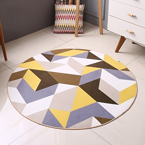 Edge to Tapis et couvertures Tapis circulaire géométrique simple moderne Chambre Salon Carré nordique Coussin de chaise d'ordinateur de cabine (Couleur : Diameter 160CM)