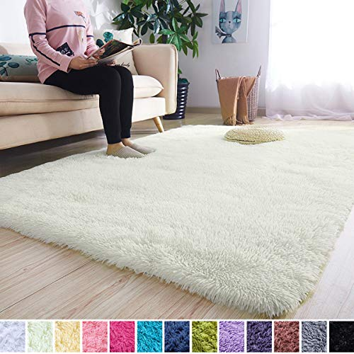 Noahas Super Soft Modern Shag Area Rugs Fluffy Living Room Carpet Comfy Bedroom Home Decorate Floor Kids Playing Mat 4 Feet by 5.3 Feet, Bright Yellow