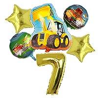 バルーン 6ピース漫画車の風船建設車のホイルバルーントラクターグローブスボーイズギフト誕生日パーティーの装飾子供 (Farbe : Yellow number 7)