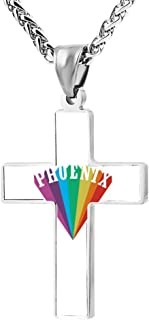 FollowC Phoenix Rainbow Cross Pendant - Jewelry Zinc Alloy Chain Necklace for Men Women, 24 Inches