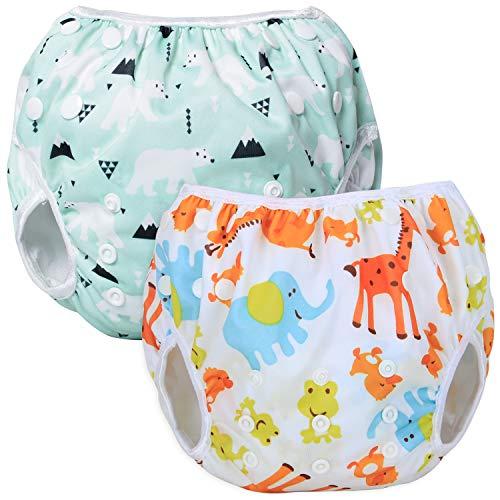Teamoy 2pcs Baby Nappy Riutilizzabile Pannolino da Nuoto, Costume Piscina Neonato Lavabili per 0-3 Anni, Polar Bear + Animal