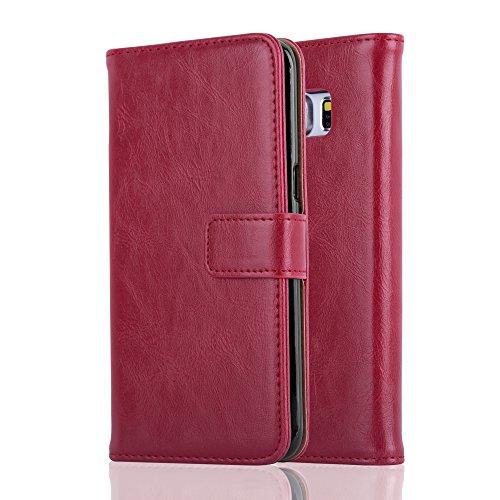 Cadorabo Funda Libro para Samsung Galaxy S6 Edge en Rojo Burdeos - Cubierta Proteccíon con Cierre Magnético, Tarjetero y Función de Suporte - Etui Case Cover Carcasa