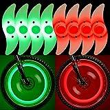 QKURT - 8 luces para radios de bicicleta (rojo, Greenx4), resistente al agua con radios de rueda de...