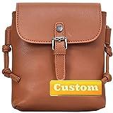 Nombre Personalizado Chicas Bolsa de Hombro Cuero Crossbody Bolsa de Mochila y para Mujeres Viajes (Color : Brown, Size : One Size)