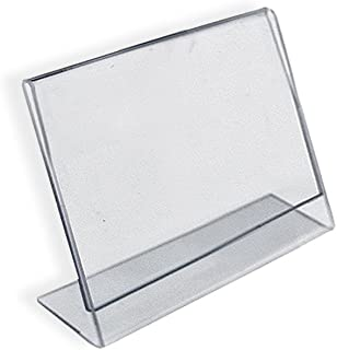 Azar 112742 Horizontal Slanted, L-Shape 3-Inch Width by 2-Inch Height Acrylic Sign Holder, 10-Piece Set