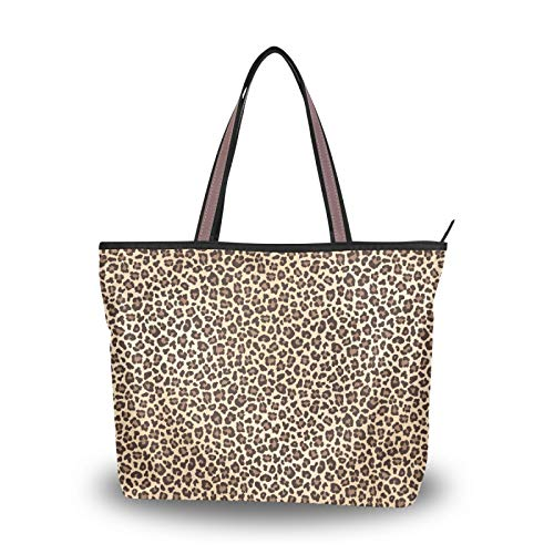 Women Large Tote Shoulder Handbag Leopard Print Top Handle Shopping Bags for Ladies