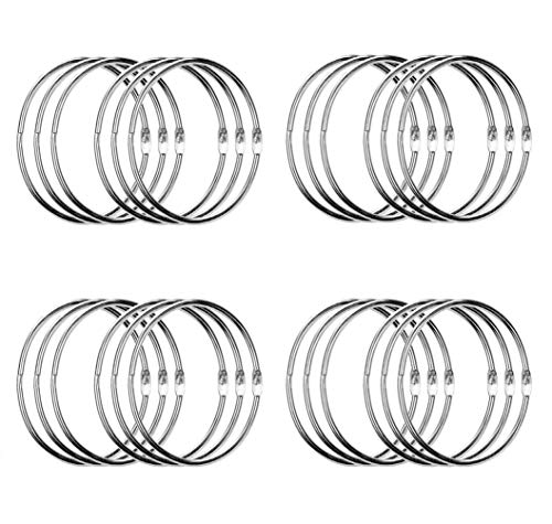 24 Pack 3 Inch Book Rings, Loose Leaf Binder Rings, Extra Large Metal Book Ring, Big Keychain Key Rings, (Silver)