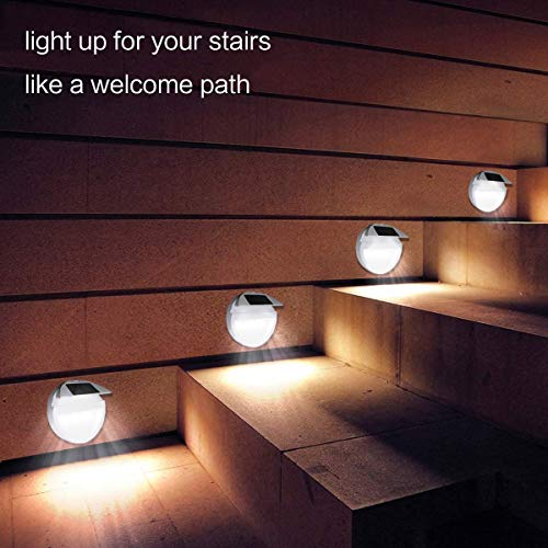 BEEZOK Solar Step Lights LED Outdoor - 4 Pack Wireless Deck Lamp Adjustable 90° Panel, IP67 Waterproof White Lighting for Security Landscape Stair Driveway Yard Garden Fence Patio Path(Cold White)
