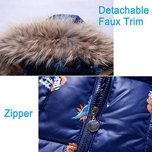 2 Piece Boys Winter Snowsuit, Kids Clothing Sets Girls Hooded Duck Down Jacket + Snow Bib Ski Pants Dinosaur Blue 2-3 Years