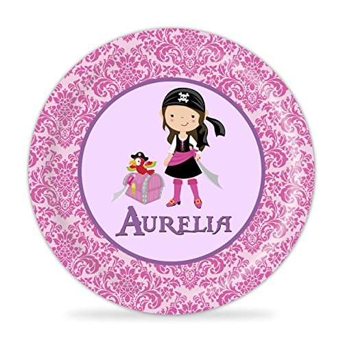 Pirate Plate - Pink Damask Treasure Girl Pirate Melamine Personalized Name Gift