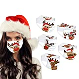 BekeLIN 50 Stück Einwegmaske Adult Einweg Mundschutz 3-lagig Gesicht Bandanas Christmas Weihnachts Druck Für Frauen Männer Staubdicht Atmungsaktiv Schals (50PC#29)
