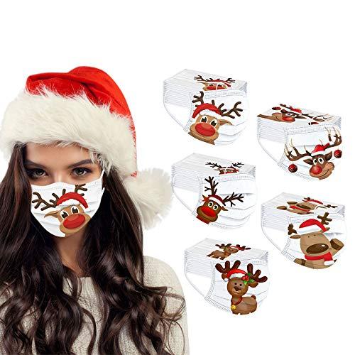 JMNyxgs Erwachsene Einweg Mundschutz Multifunktionstuch, 3-lagig Weihnachts alter Mann, Elch Gedruckt Maske,Weiche Staubdicht Atmungsaktive Vlies Mund-Nasenschutz Bandana Halstuch