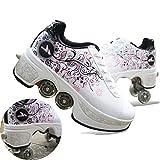 HealHeatersⓇ Deformación 4 Rueda Patines En Paralelo Zapatos Multiusos 2 En 1 Skate Ligeros Calzado para Niñas Y Niños para Niños Adolescentes Y Adultos,Blanco,38
