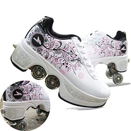 HealHeatersⓇ Deformación 4 Rueda Patines En Paralelo Zapatos Multiusos 2 En 1 Skate Ligeros Calzado para Niñas Y Niños para Niños Adolescentes Y Adultos