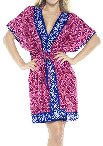 LA LEELA Playa 100% algodón caftán Encubrir túnica Bordada Medio la Manga la Chaqueta la Rebeca la Camisa Kimono Vestido Ocasional Blusa Superior Boho caftán Las Mujeres Traje baño p