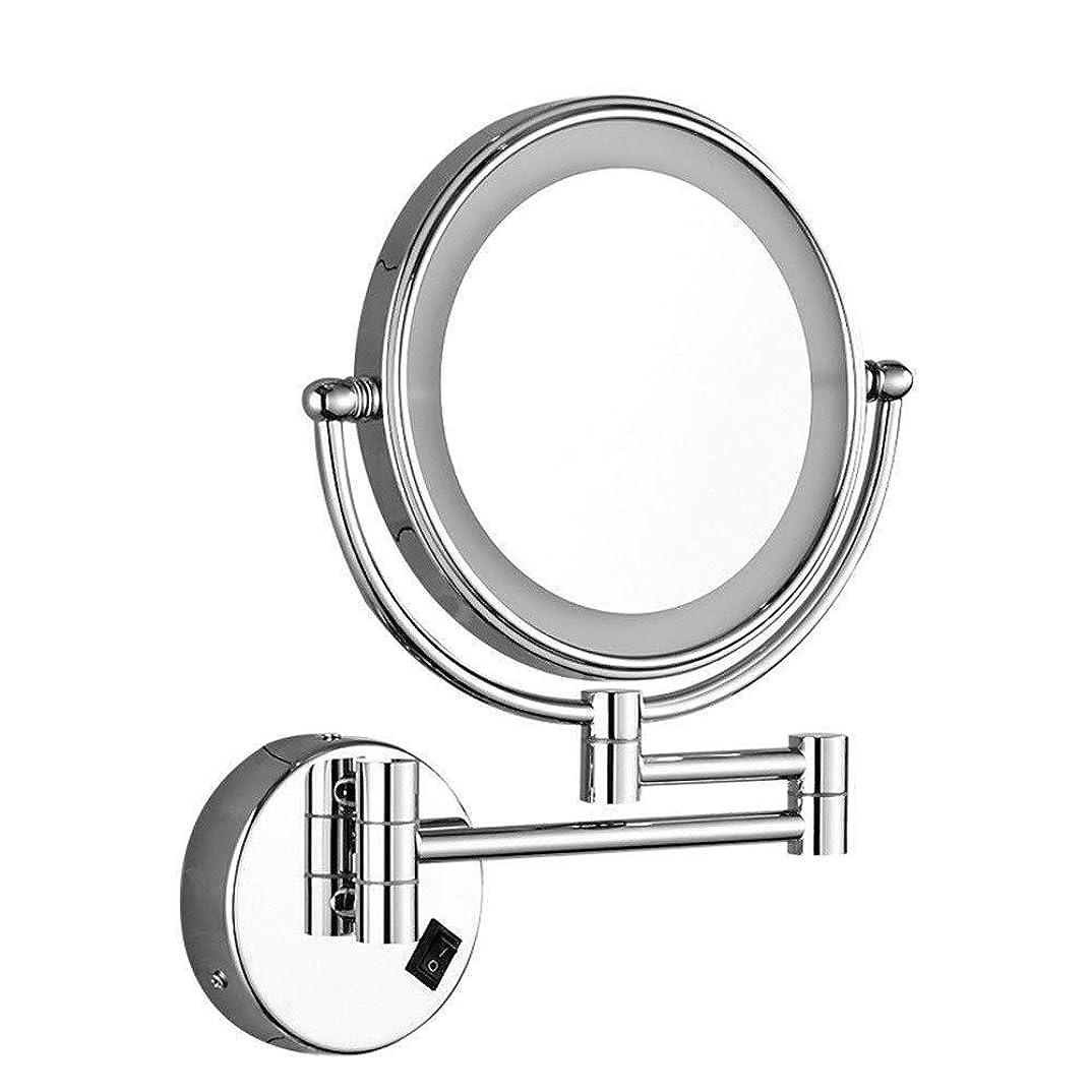 ミットもの熱望するDong-WW 鏡 壁掛け化粧鏡壁掛けマウントLED8インチバニティミラー付き光ミラー折りたたみ美容5X倍率ライトアップメイクアップミラーグルーミングミラー(カラー:シルバー、サイズ:8インチ5X)