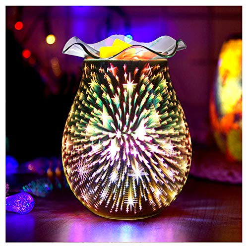 3D Fireworks Glass Wax Warmer,IIQ Electric Candle Warmer with 2 Glass Dishes & 2 Light Bulbs(40W),Wax Burner for Heating Fragrant Candle/Night Light/Keeping the Air Fresh/Gifts & Decor