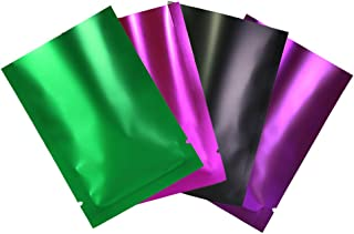 Variety Sizes Mixed Colors Sample Pack Flat Open Top Resealable Tear Notch Mylar Bags (200 Bags/Pack) (1.6