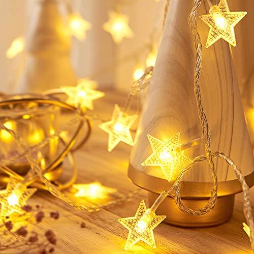 Stern Lichterketten, Sunnest Lichterketten Warmweiß 50 LED 5M Dekoration Blitz für Weihnachten Hochzeit Geburtstag Weihnachtsfeier drinnen & draußen (5M)